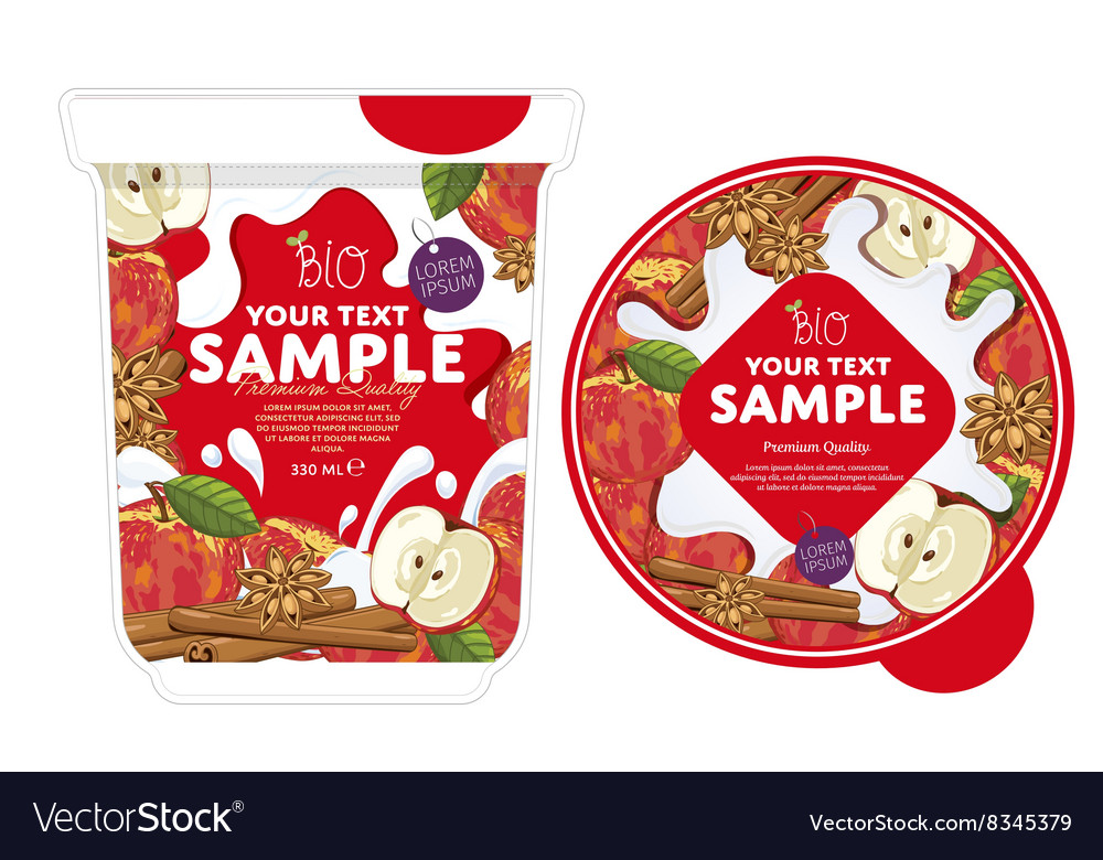 Apple cinnamon yogurt packaging design template vector