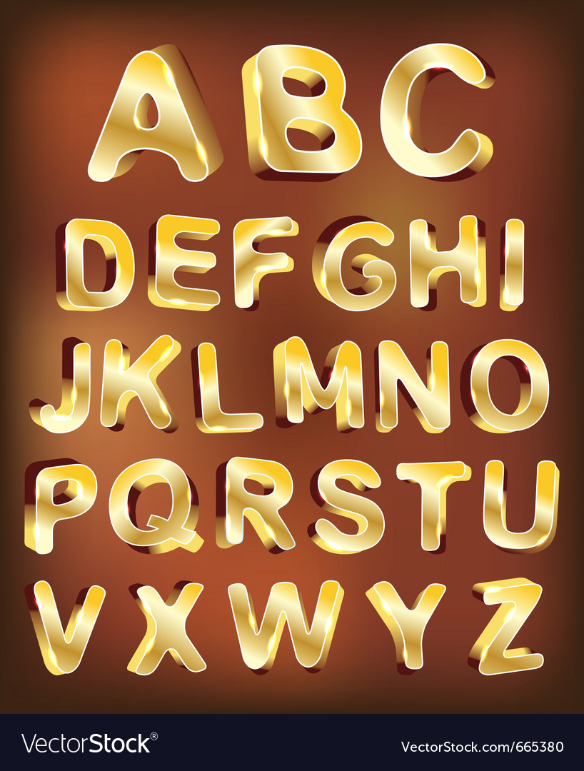 3d gold alphabet for design vector