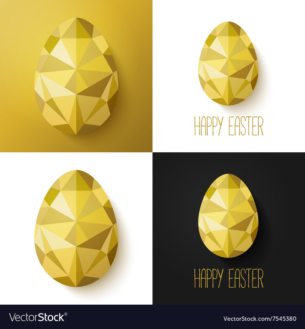 Flat design polygon of golden egg isolated vector