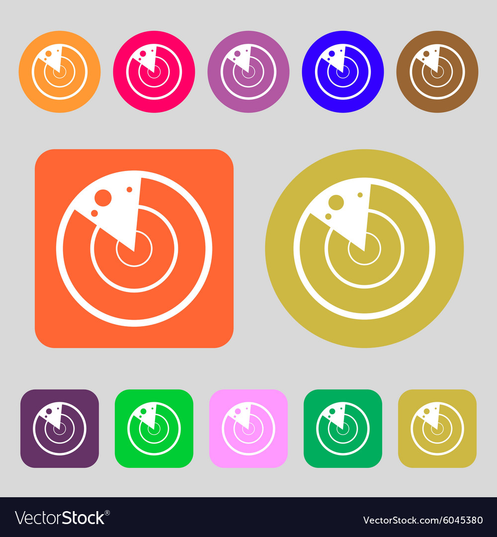 Radar icon sign 12 colored buttons flat design vector