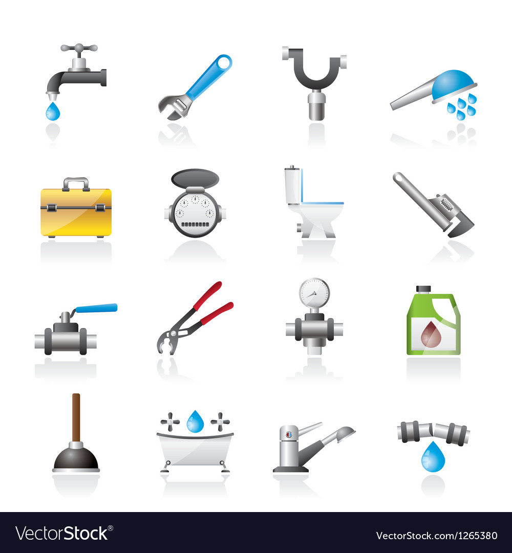 Realistic plumbing objects and tools icons vector