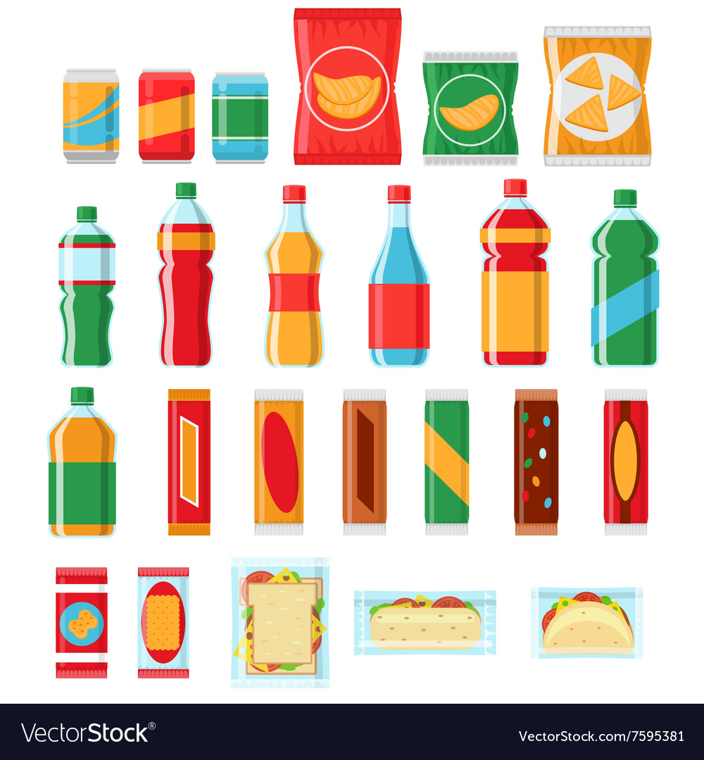 Fast food snacks and drinks flat icons vector