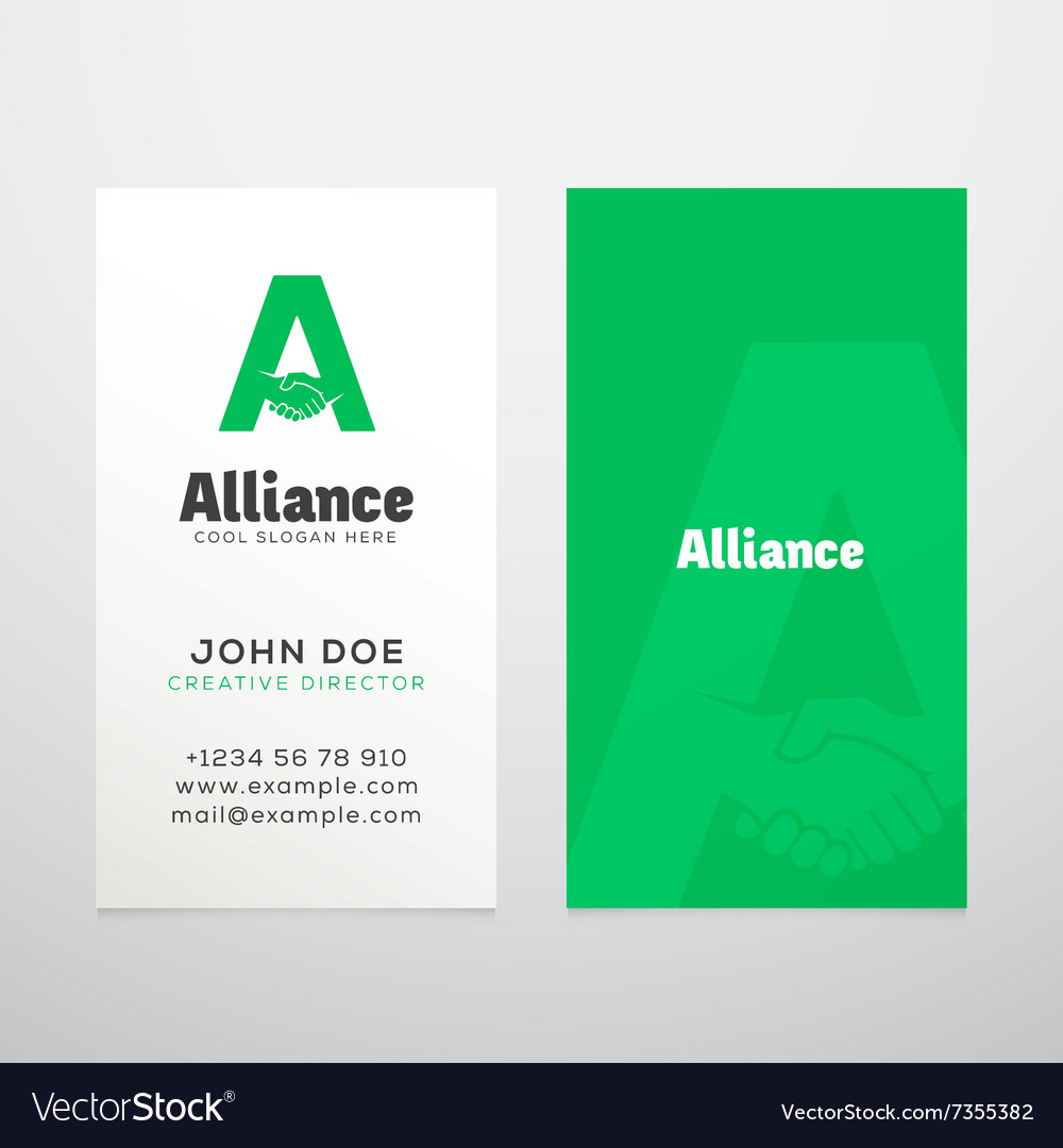Alliance abstract business card template or vector
