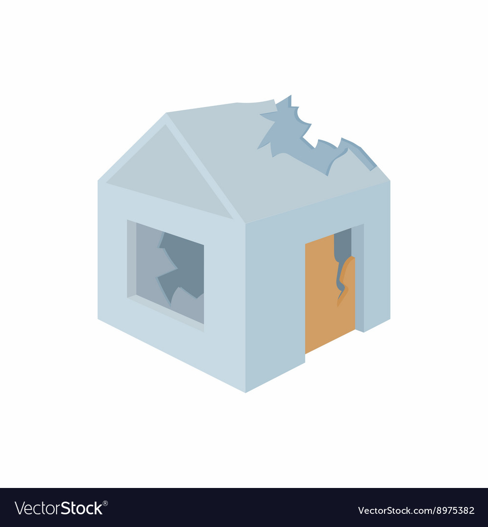 Destroyed house icon in cartoon style vector