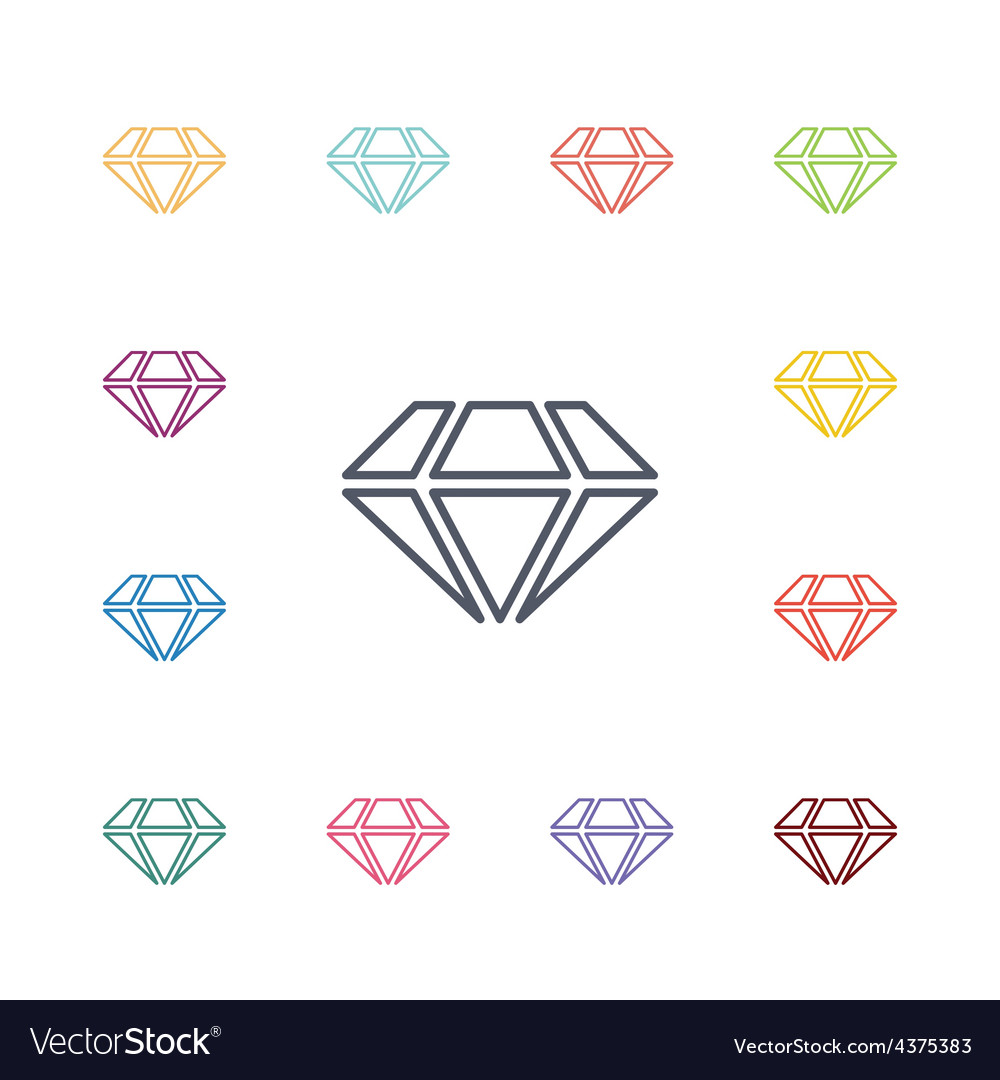 Diamond flat icons set vector