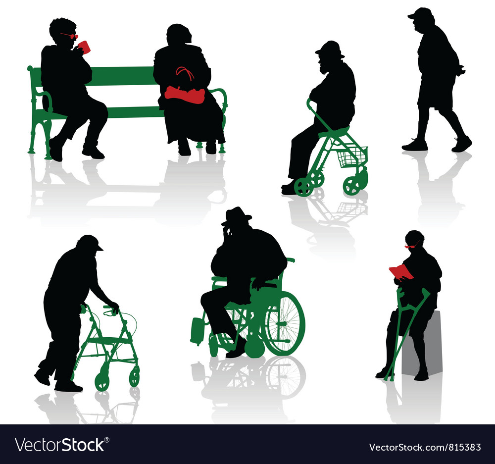 Elderly and disabled people vector