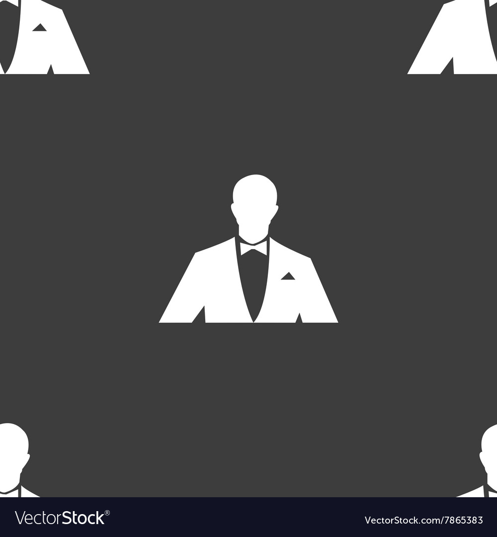 Silhouette of man in business suit icon sign vector
