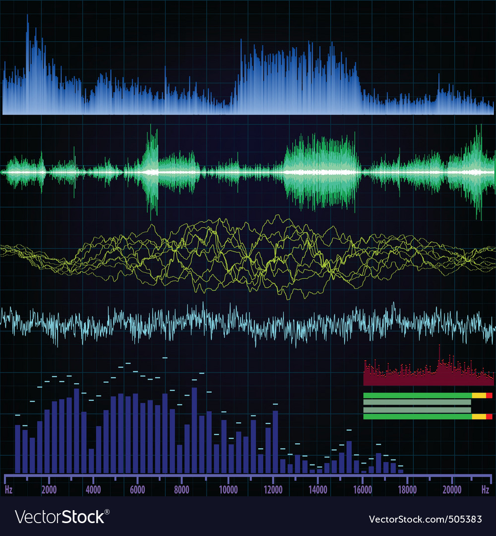 Sound wave analyzer background eps 8 vector