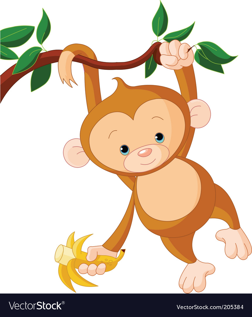 Baby monkey on a tree vector