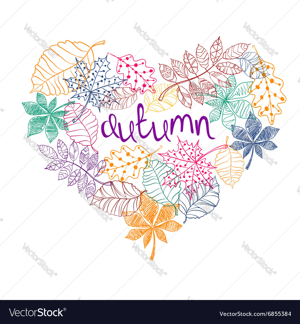 Patterned autumn leaves in a heart shape vector
