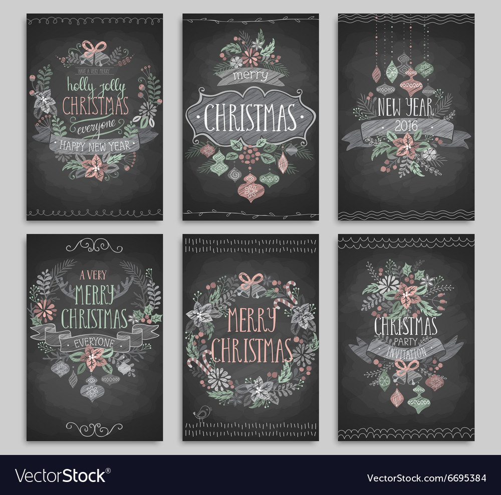 Set of christmas cards  chalkboard vector