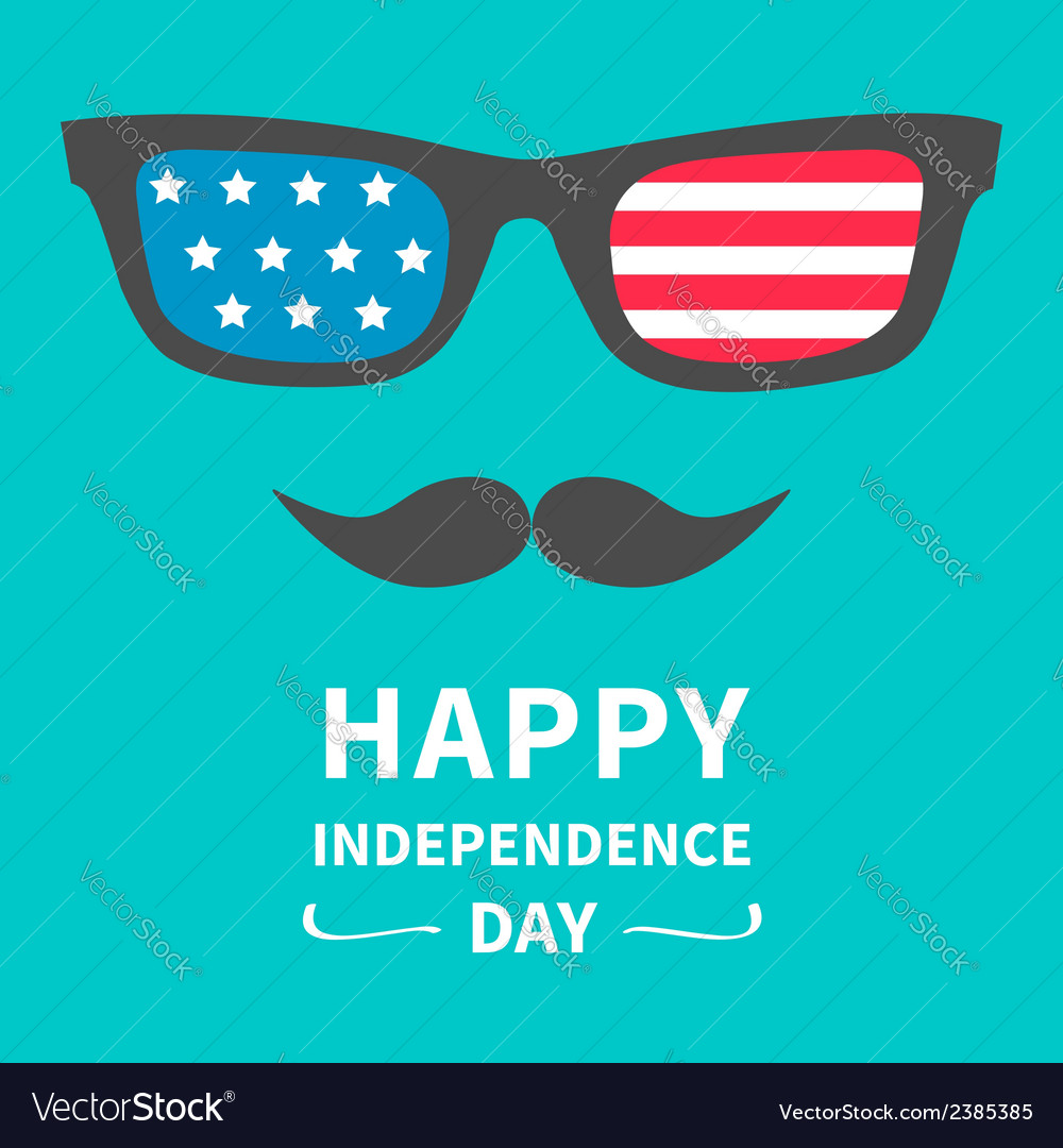 Glasses and mustaches happy independence day vector