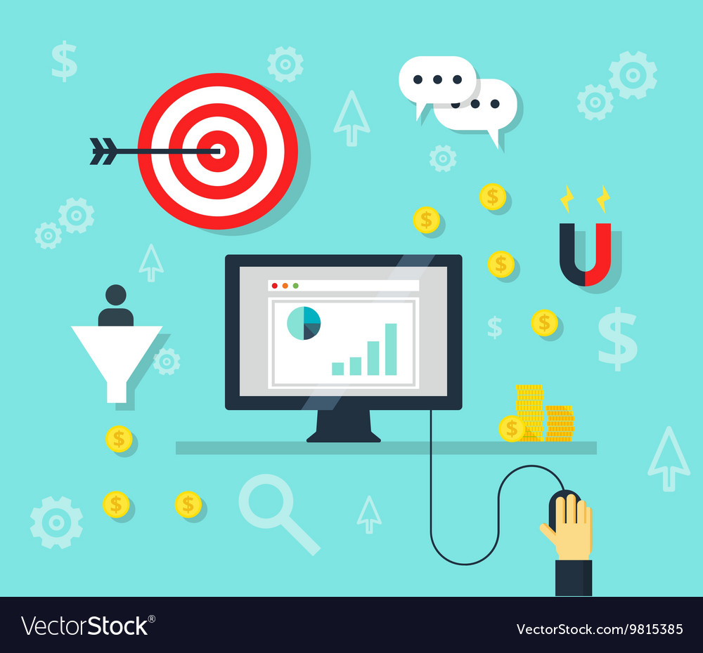 Online marketing concept internet bisiness and vector