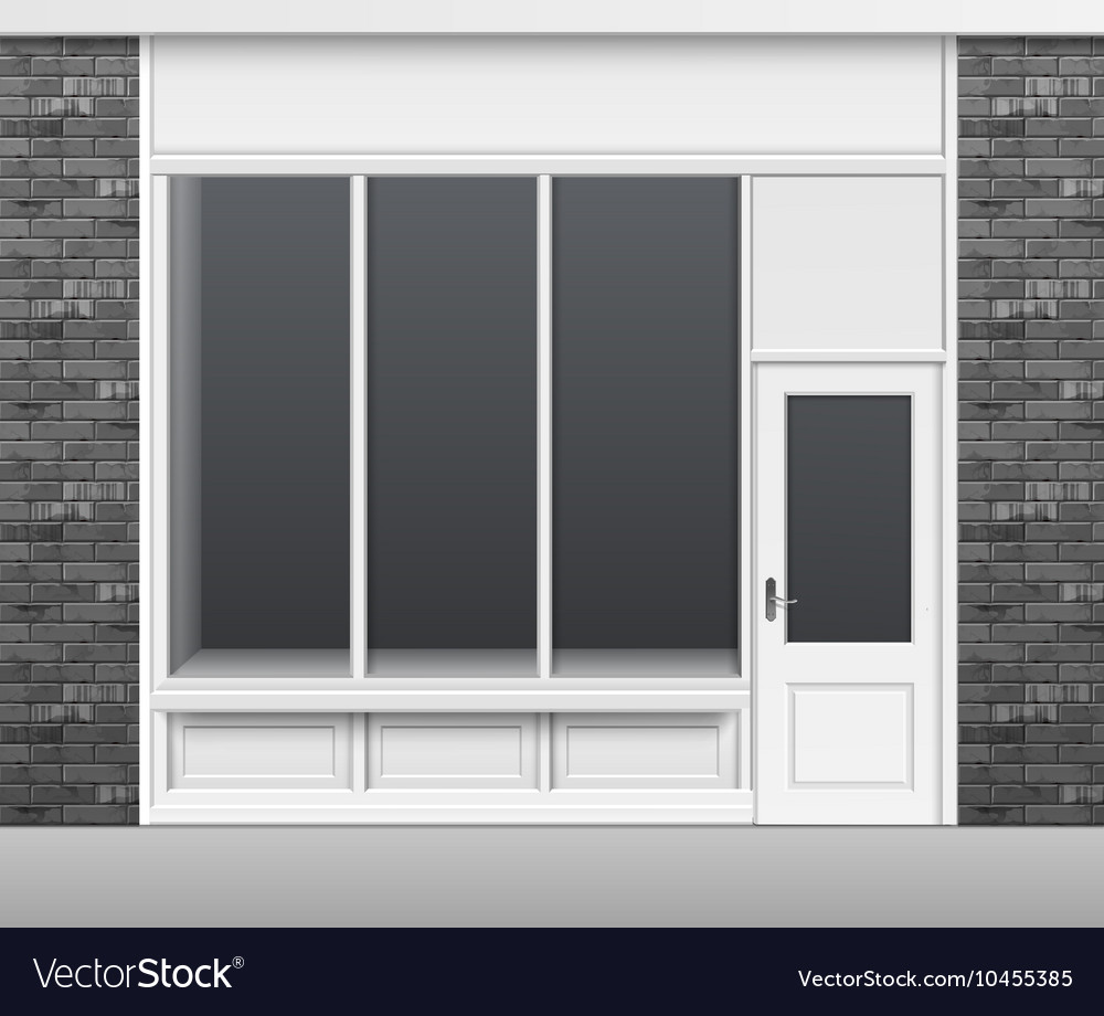 Shop store front with windows showcase and door vector
