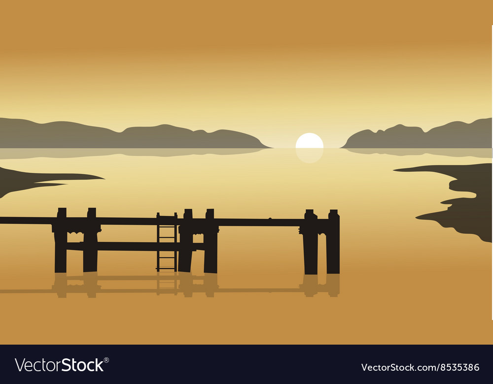 At sunrise in sea with pier silhouette vector