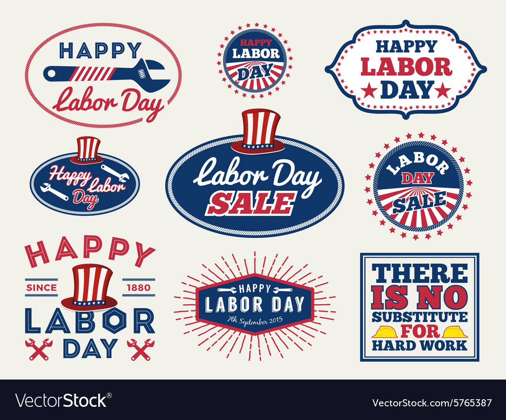Labor day badge labels collections vector