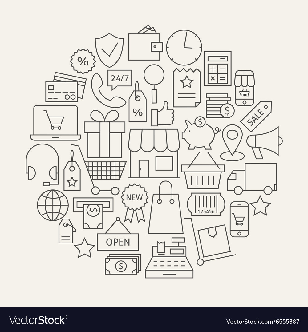 Shopping and ecommerce line icons set circular vector