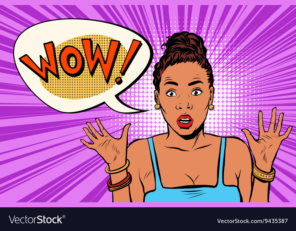 Wow surprised beautiful woman african american vector