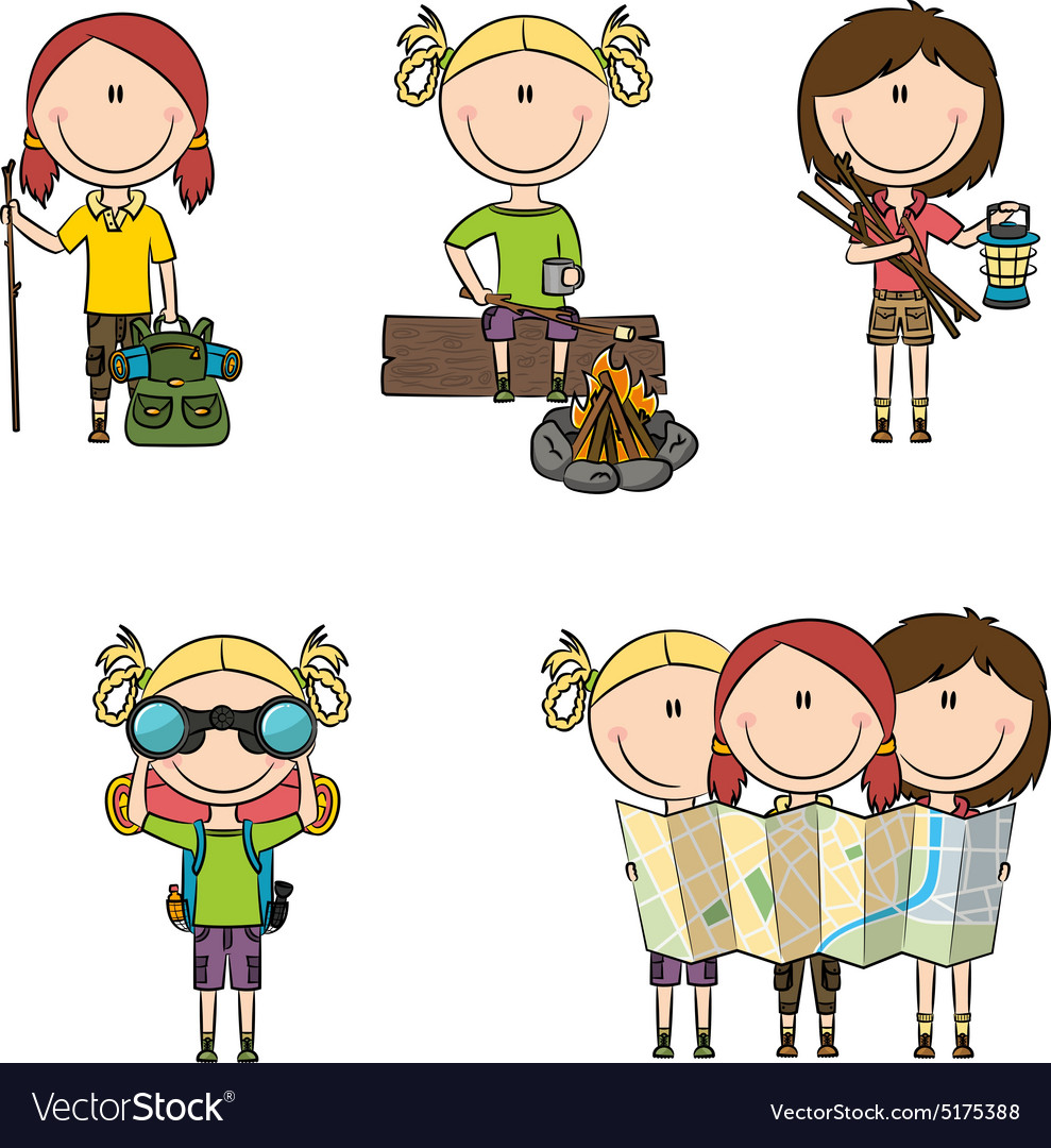 Camping girls vector