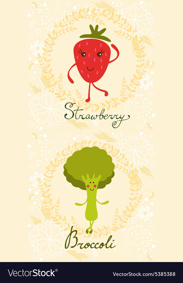 Cute sweet broccoli character vector