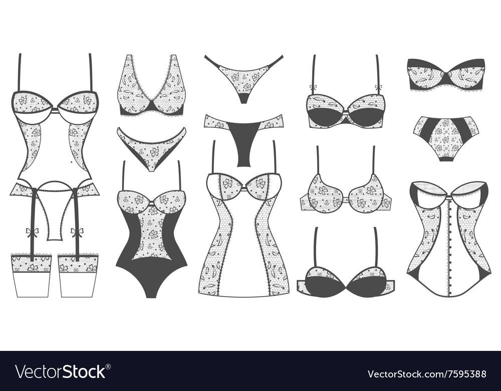 Sexy lacy lingerie set icons vector