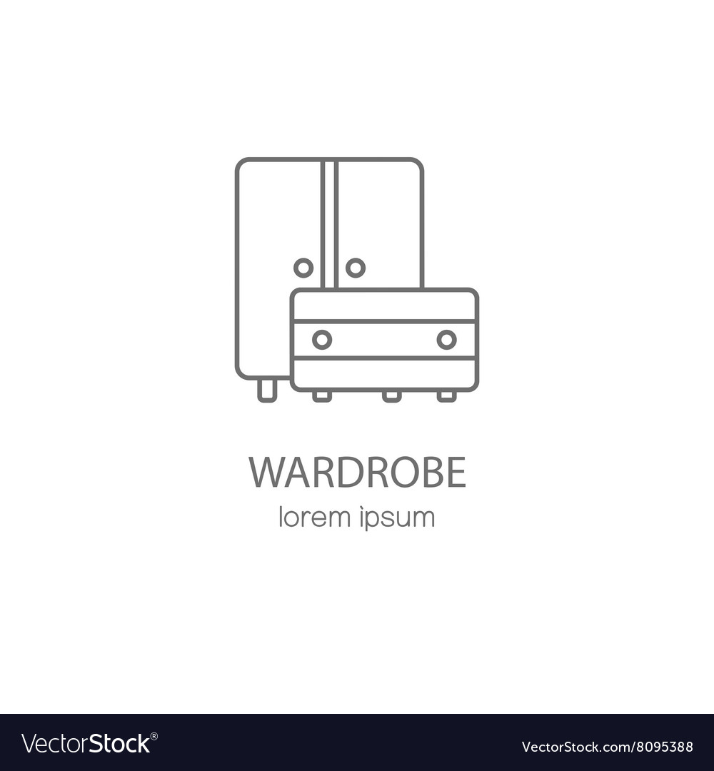 Wardrobe wood furniture logotype design templates vector