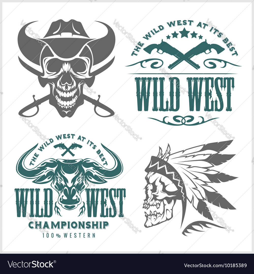 Set of vintage cowboy emblems labels badges vector