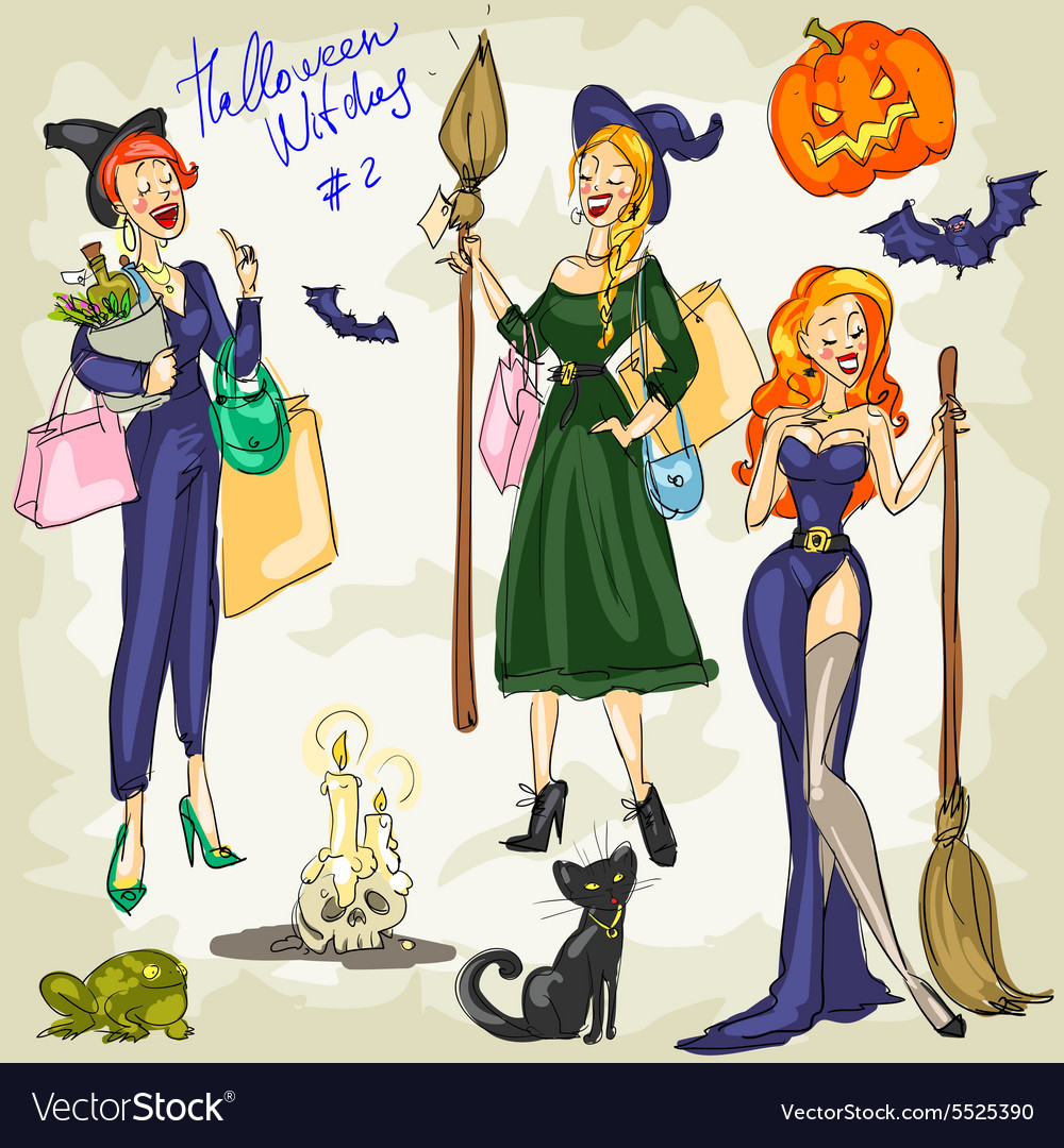 Printhalloween witches  1 hand drawn collection vector
