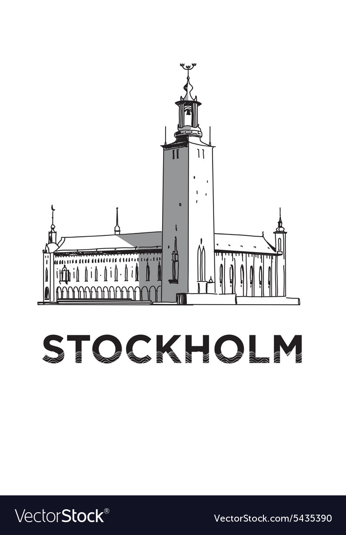 Sketch of stockholm city hall vector