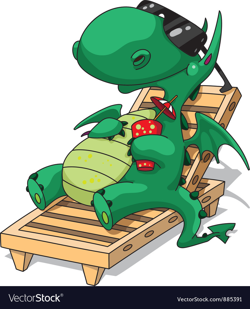 Funny relaxation dragon vector