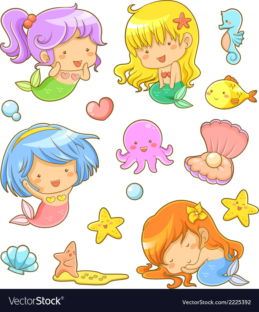 Cute mermaids collection vector