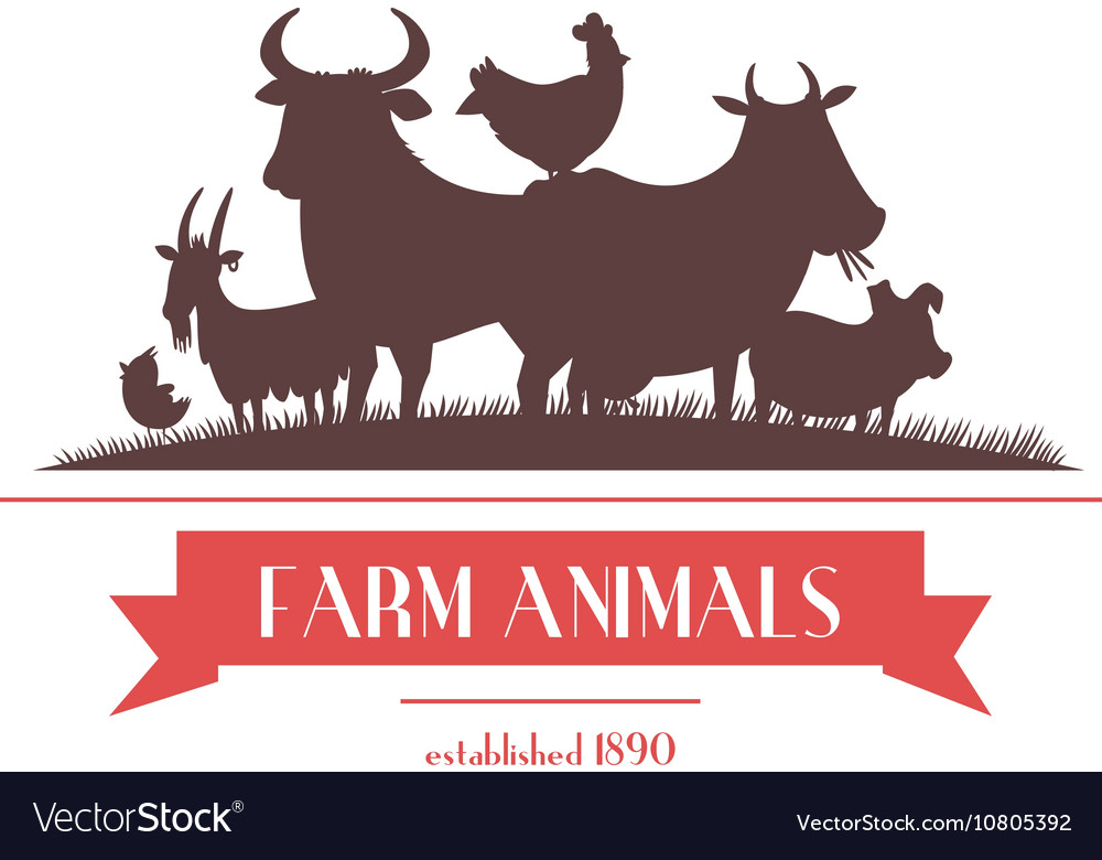 Farm animals label or signboard design vector