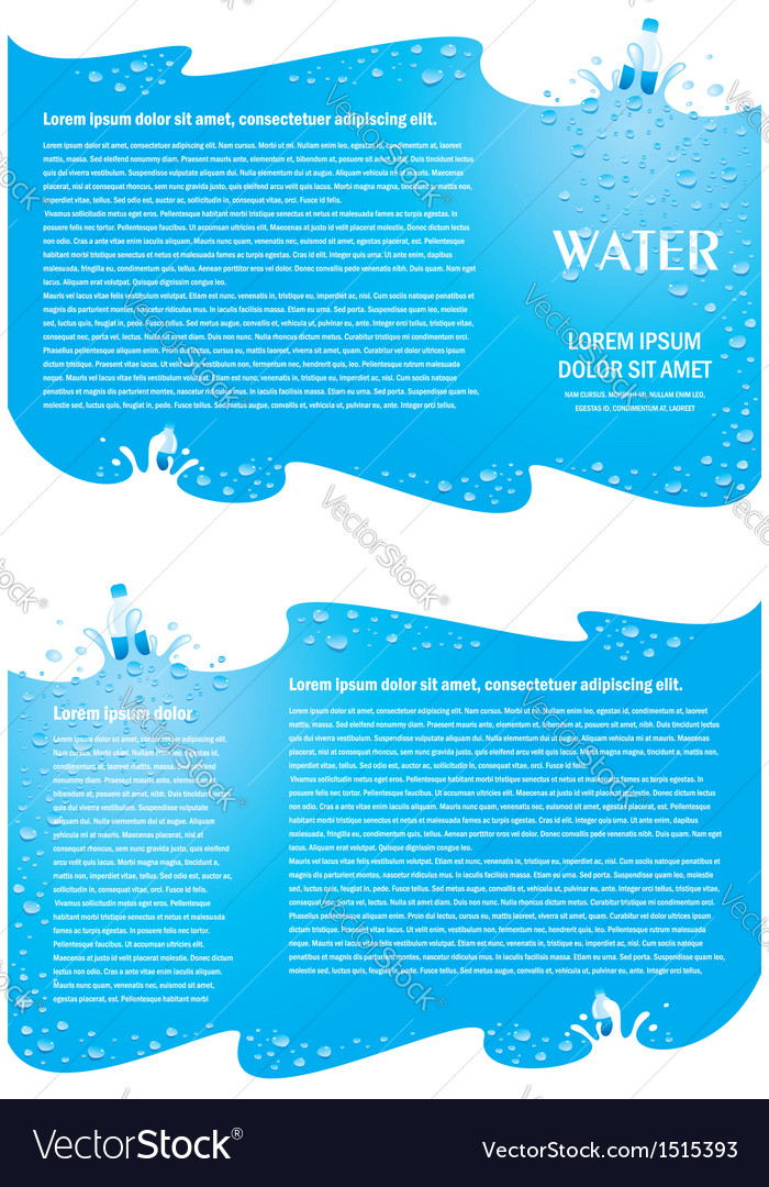 Brochure folder water aqua splash bootle element vector