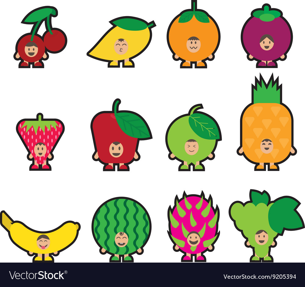 Stickers fruits vector