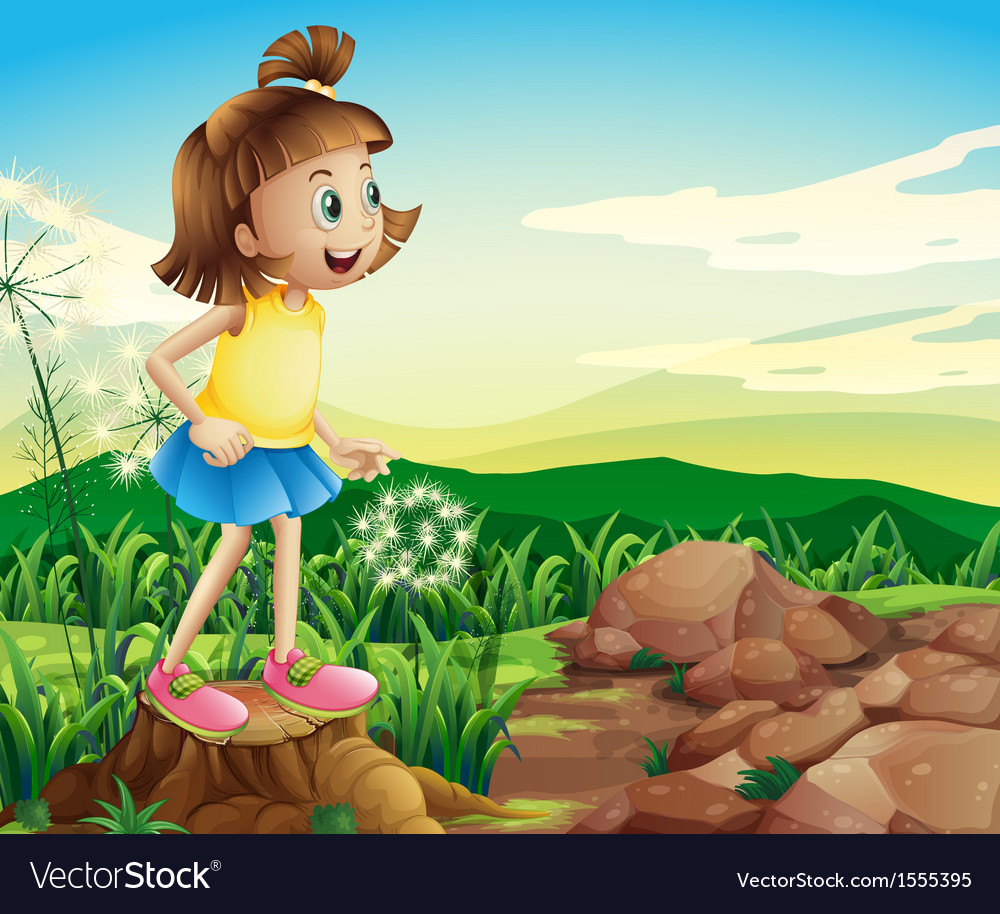 A young girl above the stump near the rocks vector