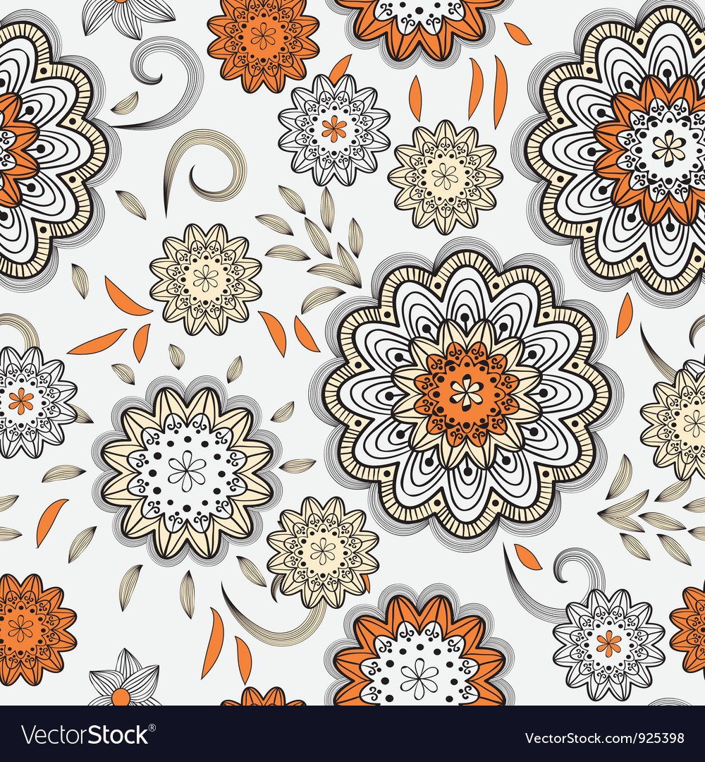 Seamless abstract doodle floral pattern vector