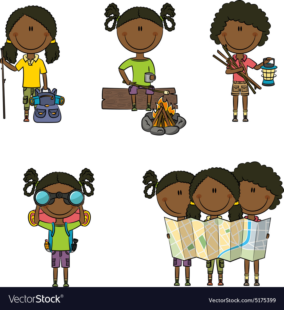 Africanamerican camping girls vector