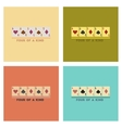 assembly flat icons poker four of a kind vector image
