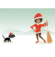 Christmas lady with cat vector image