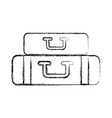 sketch draw bags of camping vector image