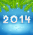 Ice and Christmas tree branch background 2014 vector image