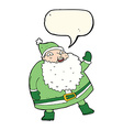 funny waving santa claus cartoon with speech vector image