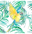 Tropical birds and plants seamless pattern vector image