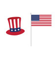 american flag with hat icon color vector image