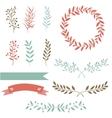 Hand drawn set design elements brunch wreath vector image