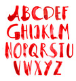 hand painted grungy alphabet - red vector image