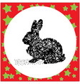 rabbit black 8-bit dog standing vector image