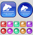 vegetarian restaurant icon sign A set of twelve vector image