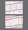template folding brochure with red wavy elements vector image