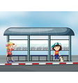 Passengers at the waiting shed vector image